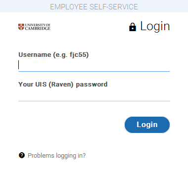 Employee Self Service Log In screen for iTrent version 10.26.02